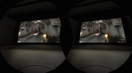 Steamの「VRシアター」でゲームをプレイしている様子
