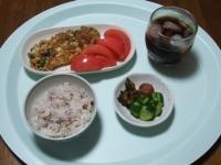 6/8 昼食 納豆とオクラ入りオムレツ、梅干し、きゅうりの塩麹漬け、雑穀ごはん