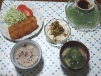 6/16 夕食 イカフライ、刺身こんにゃく、寄せ豆腐、ほうれん草の味噌汁、雑穀ごはん