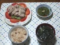 6/22 豚冷しゃぶ、めかぶ、タコ飯