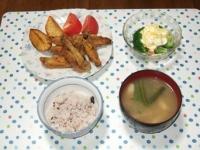 6/24 夕食 手羽先の唐揚げ、ブロッコリーと海老のタルタルサラダ、しめじといんげんの味噌汁、雑穀ごはん