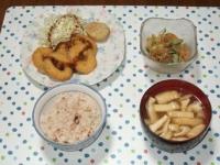6/26 夕食 イカリングフライ、中華クラゲ、豆腐と油揚げの味噌汁、雑穀ごはん