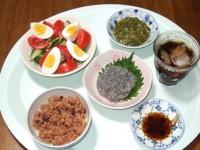 6/27 夕食 生しらす、サラダ、もずく、寝かせ玄米