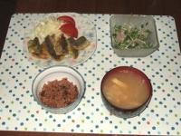 6/29 夕食 アジのカレー風味揚げ、アジとかいわれのサラダ、もやしと油揚げの味噌汁、寝かせ玄米