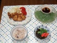7/3 夕食 鶏の味噌唐揚げ、刺身こんにゃく、もずく酢、雑穀ごはん