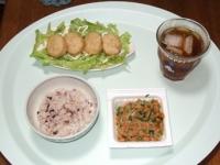 7/5 昼食 納豆、チキンナゲット、雑穀ごはん