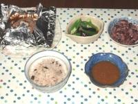 7/7 夕食 包み焼煮込みハンバーグ、ホタルイカ、ナスとオクラの煮びたし、雑穀ごはん