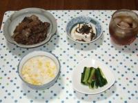 9/10 夕食 牛筋の煮込み、冷奴、ピリ辛きゅうり、とうもろこしご飯