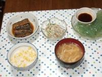 7/11 夕食 さんまの甘酢漬け、ゴボウサラダ、刺身こんにゃく、えのきと油揚げの味噌汁、とうもろこしご飯