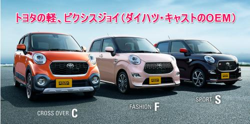トヨタ ピクシスジョイ 3パターン