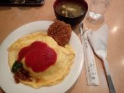 神田錦町 ふくのや オムライスメンチ+味噌汁(2016/4/11)