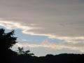 雨上がりの夕空に青鷺が舞う