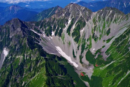 北アルプス 穂高岳の空撮