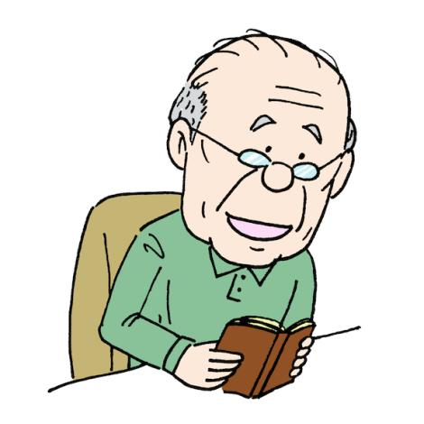 読書する爺ちゃん