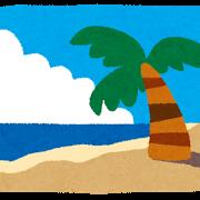 夏・ヤシの木とビーチ