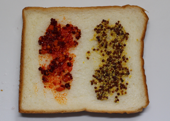 ベーコンの食べるラー油とマスタード