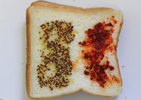 マスタードと食べるラー油