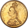 Victoria gold 5 Pounds 1887 MS64
