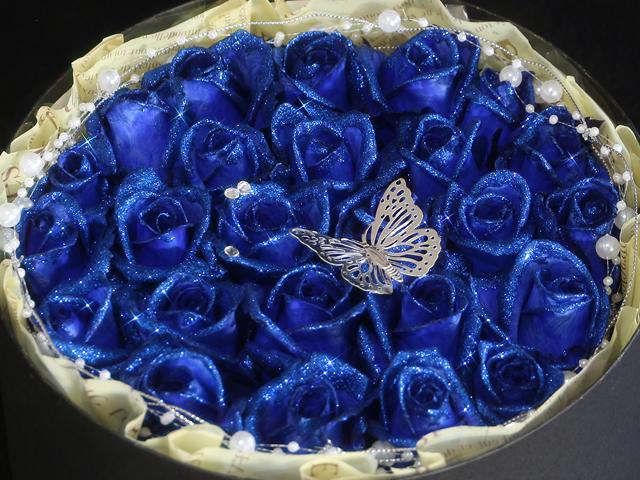 青 バラ プロポーズ 誕生日 ハート サプライズ 花束