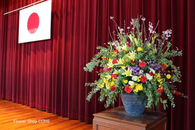 学校 お祝 春 花 人気 花瓶花 演台 桜 アレンジ
