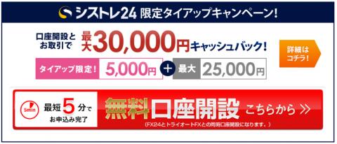 シストレ24タイアップ特典3万円