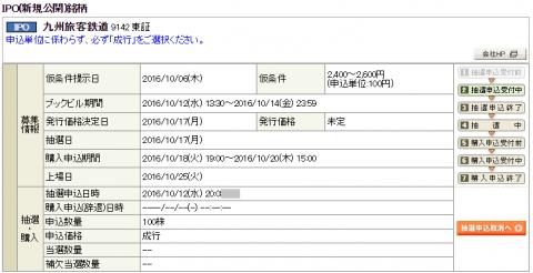 岡三オンライン証券JR九州申込始まる!