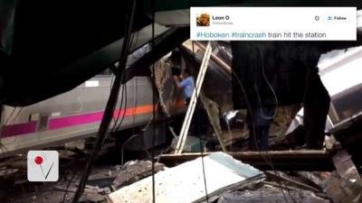 【衝撃!】ニュージャージー州の列車が突っ込んだ事故直後の生々しい映像!