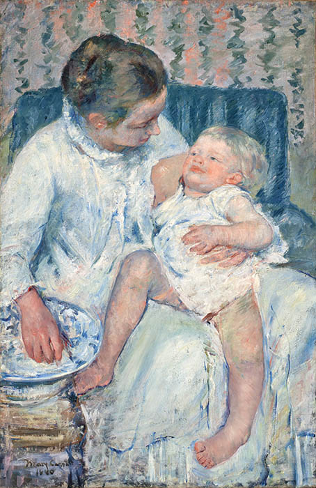 「眠たい子どもを沐浴させる母親」1880 16cm