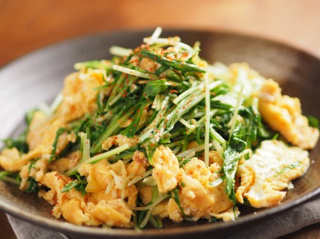 水菜の明太たまごとじt18
