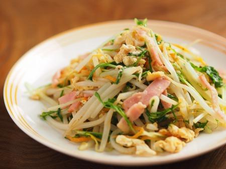もやしと水菜のガリマヨ炒めt19