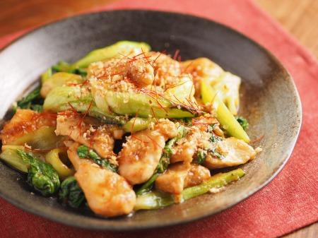 鶏むね肉と青梗菜の香味炒t25