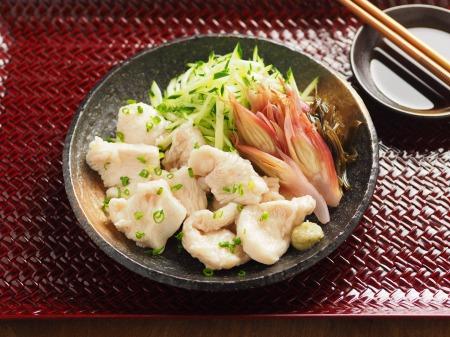 水晶鶏の刺身風甘酢茗荷09