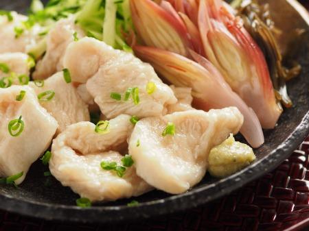 水晶鶏の刺身風甘酢茗荷23