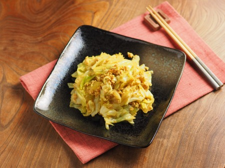 キャベツとひき肉のカレーマヨ炒43
