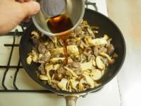 砂肝とキノコの高菜炒め34