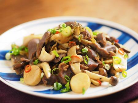 砂肝とキノコの高菜炒め42