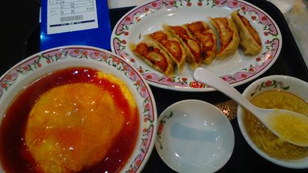天津飯と餃子
