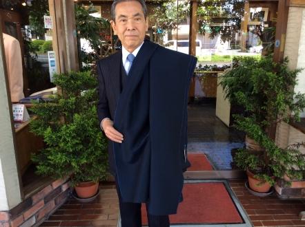 ウールリネン・ダークブルー色のオーダージャケット