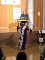 舞姫の小林幸枝さんは、先天性聾唖。舞台の合図は太鼓などの振動音で。
