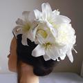 カサブランカと大輪芍薬の結婚式髪飾り