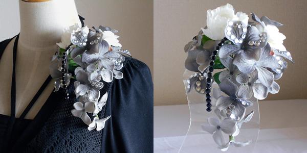 オーガンジーローズとグレー紫陽花の結婚式コサージュ