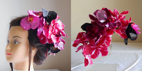 4種類の胡蝶蘭の成人式髪飾り