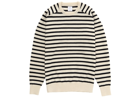 MGJ-KN04 BORDER CREW NECK KNIT IVORY BLACK_R