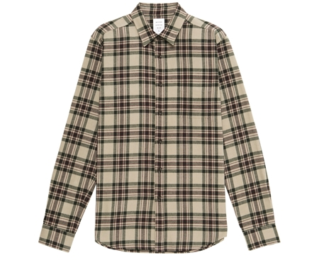 MGJ-SH01 FLANNEL CHECK SHIRT BEIGE GREEN_R
