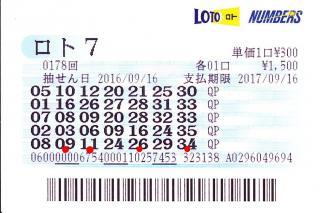 ロト7 0178回赤
