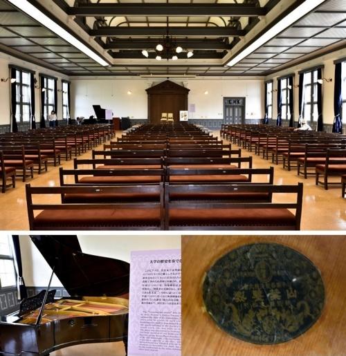 ④講堂とピアノ