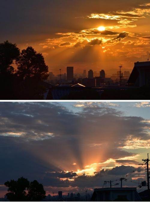 8-30家から夕陽