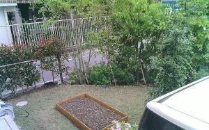 野菜栽培用の土を混ぜ、畑は完成