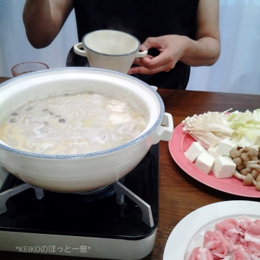 クーラーつけて豆乳鍋3