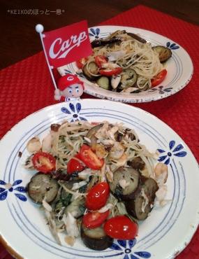鯖とプチトマトと茄子のパスタ2